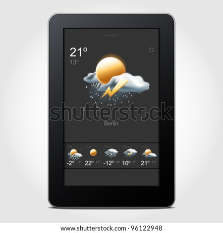 Tablet weather - stock vector