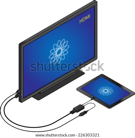 Tablet with a USB Mobile High-definition Link (MHL) adapter connected to an HDMI television. - stock vector