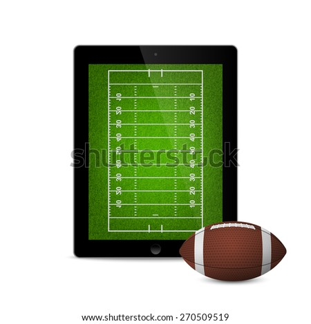 Tablet with american football ball and field on the screen. Vector EPS10 illustration.