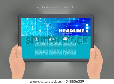 Tablet with business article. vector - stock vector