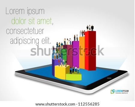 Tablet with business people over bar chart - stock vector