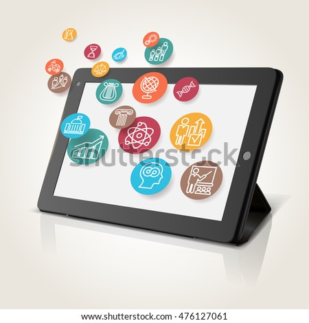 Tablet with educational icons, technology background, vector illustration