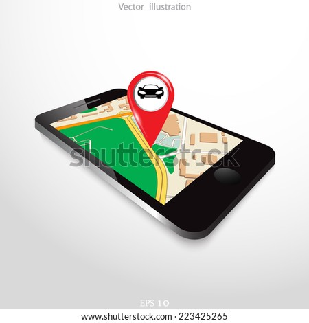 Tablet with navigation map and red pointer.