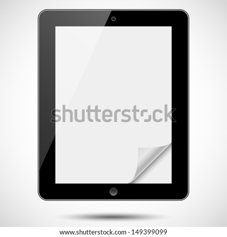 Tablet with Paper Corner - Black tablet with blank, shiny screen and folded paper corner, isolated on white background.  File is layered.  Eps10 file with transparency.  - stock vector