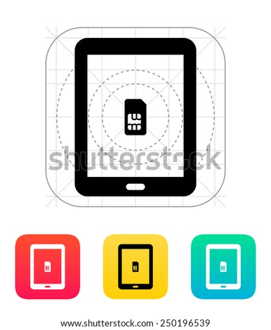 Tablet with SIM icon. Vector illustration. - stock vector