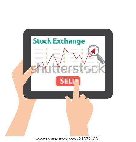 tablet with stock exchange - stock vector