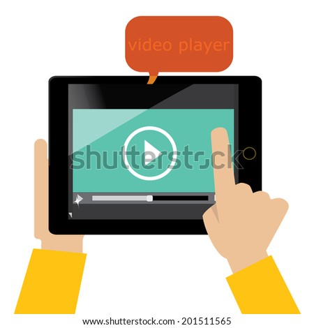 tablet with video player on the screen - stock vector