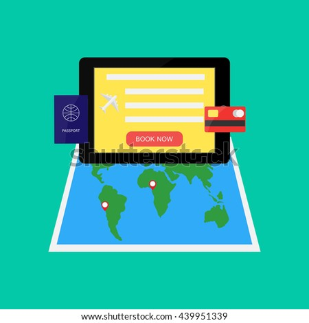 tablet, world map, passport, bank card on a green background, online ticketing concept, vector illustration in flat style - stock vector