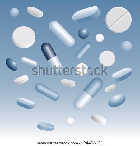 Tablets and capsules. Vector illustration - stock vector