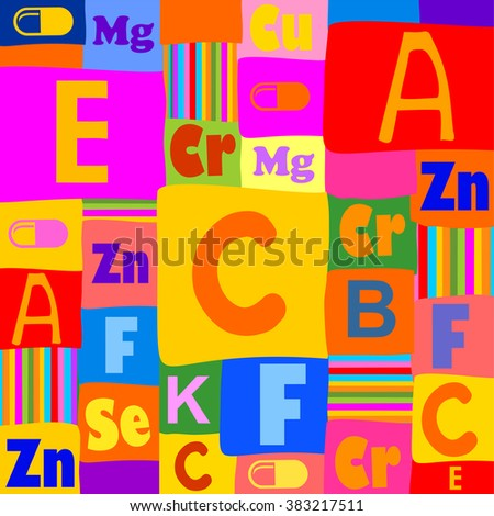 Tablets and vitamins. Colored seamless pattern. Vector illustration - stock vector