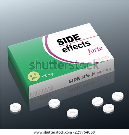 Tablets named SIDE EFFECTS forte with a dazed smiley as brand logo on the cardboard package. It is a medical fake product. Vector illustration. - stock vector