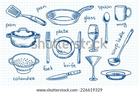 tableware - stock vector