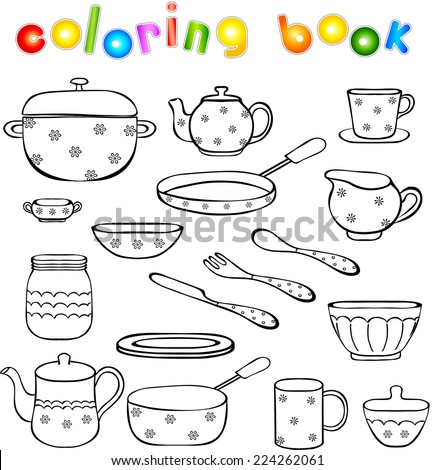 Tableware and kitchenware coloring book. Vector illustration for children - stock vector