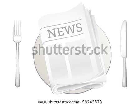 tableware and newspaper on the white background - stock vector