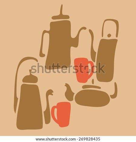 Tableware for tea and coffee. coffee pot and tea pot. Cups for tea and coffee. Set for tea ceremony.Print. - stock vector