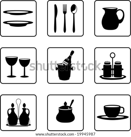 tableware objects black and white silhouettes (also available in raster format) - stock vector