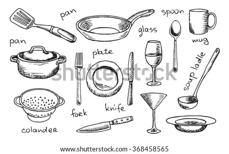 tableware, plate, kitchen, white, vector, silverware, utensil, spoon, mug, dinner, icon, pan, colander, knife, set, fork, glass, kitchen utensils, kitchen table, vine glass, knife and fork - stock vector