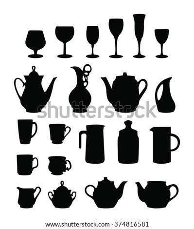 tableware silhouette vector - stock vector