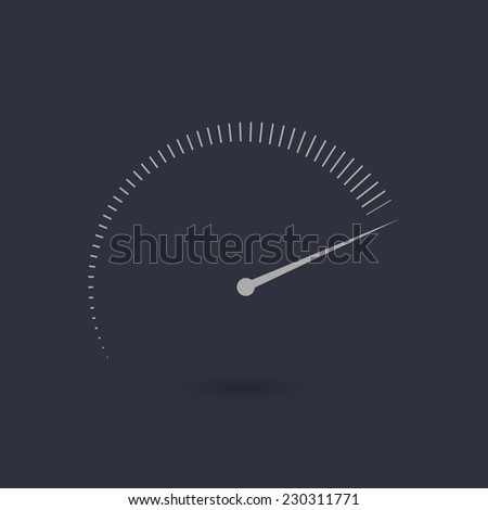 Tachometer flat icon with grade. Vector illustration - eps10  - stock vector