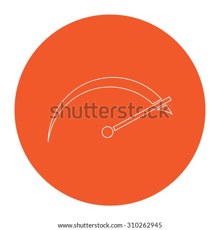 Tachometer. Flat outline white pictogram in the orange circle. Vector illustration icon - stock vector