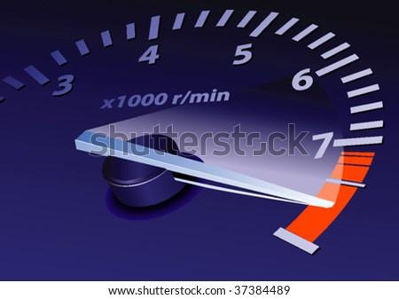 tachometer on maximum level vector image - stock vector