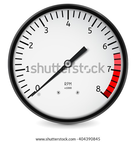 Tachometer. Realistic vector illustration isolated on white background