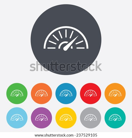 Tachometer sign icon. Revolution-counter symbol. Car speedometer performance. Round colourful 11 buttons. Vector - stock vector