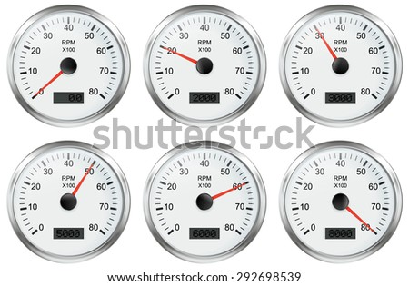 Tachometer. Vector Illustration isolated on white background. - stock vector