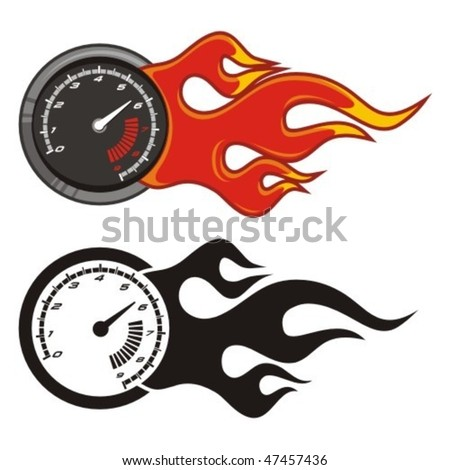 Tachometer with flame on white. Vector illustration. - stock vector