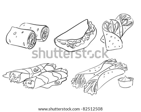 taco and wrap styles - stock vector