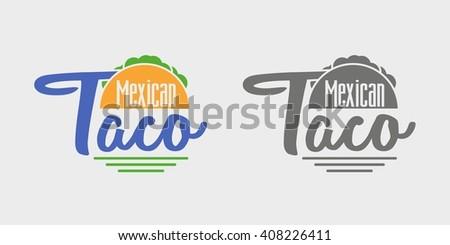 Taco icon or logo concept. Vector dark grey and color icon on light grey background  - stock vector