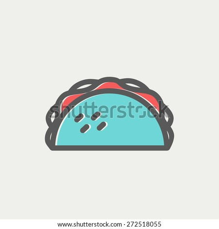 Taco icon thin line for web and mobile, modern minimalistic flat design. Vector icon with dark grey outline and offset colour on light grey background. - stock vector