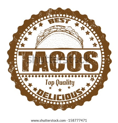 Tacos grunge rubber stamp on white, vector illustration - stock vector