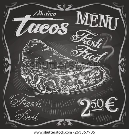 tacos vector logo design template. fast food or restaurant icon. - stock vector