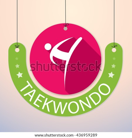Taekwondo - Colorful Paper Tag for Sports - stock vector
