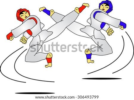 Taekwondo Kid - stock vector