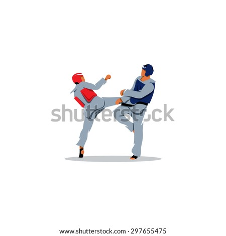 Taekwondo sign. Sports fight between two fighters. Vector Illustration. Branding Identity Corporate logo design template Isolated on a white background - stock vector