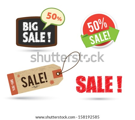 Tag banner sale promotion set. - stock vector
