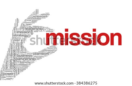 "Tag cloud containing words related to strategy, leadership, business, innovation, success, motivation, vision, mission and teamwork in the shape of hand holding a word. ""Mission"" emphasized. - stock vector"