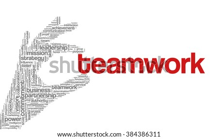 "Tag cloud containing words related to strategy, leadership, business, innovation, success, motivation, vision, mission and teamwork in the shape of hand holding a word. ""Teamwork"" emphasized. - stock vector"