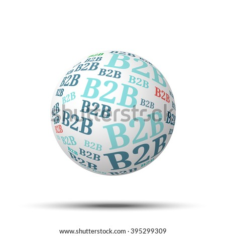Tag cloud sphere B2B, isolated on white background  - stock vector