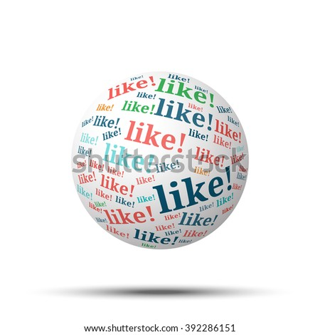 Tag cloud sphere Like!, isolated on white background