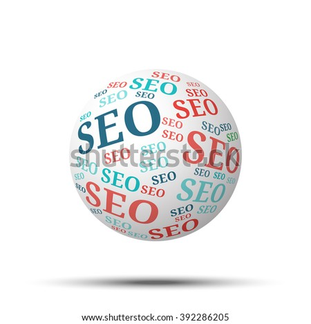 Tag cloud sphere Seo, isolated on white background  - stock vector