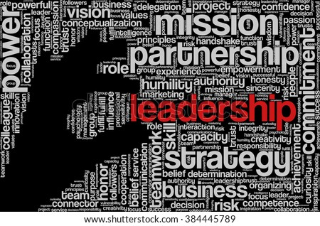 "Tag cloud with words related to strategy, leadership, business, innovation, success, motivation, vision, mission and teamwork in the shape of hand holding a word, on black. ""Leadership"" emphasized. - stock vector"
