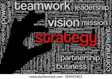 "Tag cloud with words related to strategy, leadership, business, innovation, success, motivation, vision, mission and teamwork in the shape of hand holding a word, on black. ""Strategy"" emphasized. - stock vector"