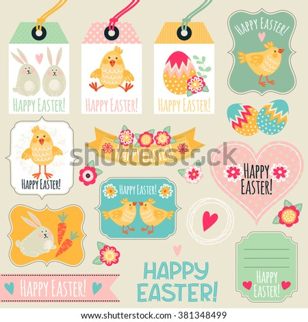 Tag collection. Happy Easter! - stock vector