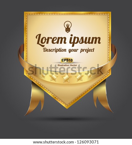 Tag gold vector with gold ribbon
