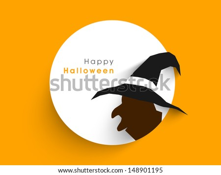 Tag, label or sticker with silhouette of a witch on abstract yellow background for Happy Halloween, - stock vector