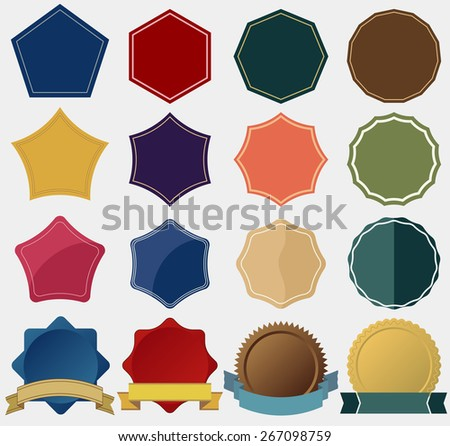 Tag label, ribbon collection. Starburst seals set, bursting stars, glass star shapes and promotional stickers. Colorful vectors (eps10), you can simply change color and size - stock vector