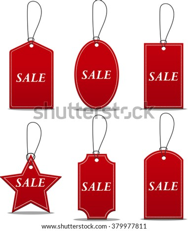 tag red labels on sale - stock vector